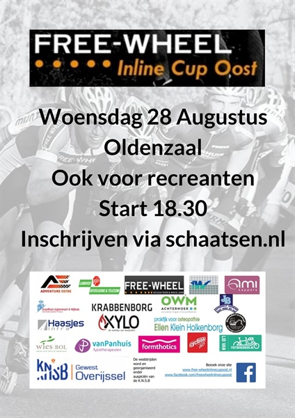 Uitnodiging 10e Free-Wheel Inline Cup Oost
